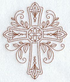 ornate redwork cross from embroidery library