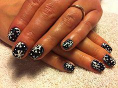 CND Shellac Christmas Nail Art - Midnight Swim with handpainted Cream Puff snowflake nail art.