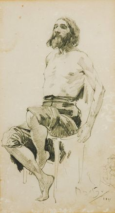 Alfons Mucha Sketch Study of a seated man 1891