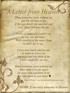 Missing A Loved One In Heaven Missing someone in heaven