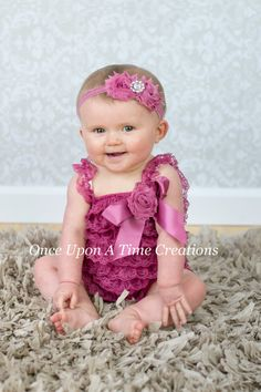 Mauve Lace Romper - Shabby Flower Embellished - Baby Girls Size Newborn 0 3 6 9 12 18 24 Months - Spring Summer Photo Prop Outfit