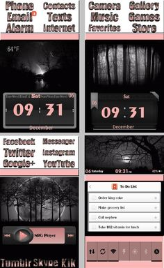Eerie, dark forest theme with pink trimmings, typography icons #homepackbuzz #buzzlauncher