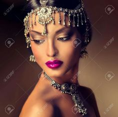 Picture of Beautiful Indian women portrait with jewelry. elegant Indian girl looking to the side, bollywood style stock photo, images and stock photography. African Beauty, African Women, Indian Beauty, Beauty Art, Beauty Women, Headdress, Headpiece, Female Portrait, Woman Portrait