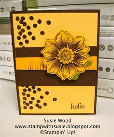 Stampin' Up!- 'Beautiful Bunch' with coordinating Fun Flower Punch; 'Dotty Angles' and check out the fringe scissors!