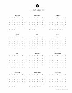 Free Printable, 2017 Yearly Calendar