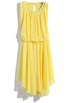 ROMWE | Rivet Beaded Neckline Backless Yellow Dress, The Latest Street Fashion