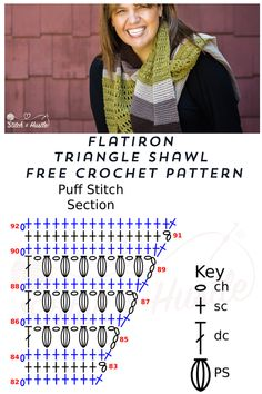 Flatiron Asymmetrical Triangle Shawl Free Crochet Pattern — Stitch & Hustle Again, we can easily make - Knitting Crochet Shawl Diagram, Crochet Shawl Free, Crochet Shawls And Wraps, Crochet Round, Crochet Chart, Crochet Scarves, Crochet Stitch, Crochet Designs, Crochet Patterns