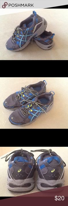Women's Asics Gel Venture 4 Running Shoe Worn twice, in excellent new condition.  Black, gray, neon green and dark teal with removable insole..  Laces are black and neon green.  Very comfortable shoe for running. Asics Shoes Athletic Shoes