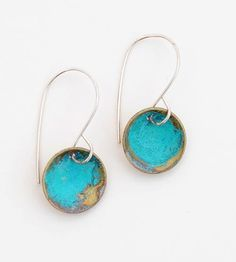 Blue Dome Earrings | Add an air of mystery with these blue-green circle earrings. T... | Earrings