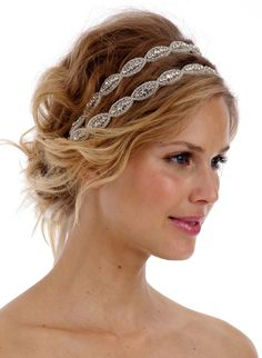 Poppy II | Amanda Judge 145USD: This piece is made from two 14 inch rows of gorgeous rhinestone trim and is attached to satin ribbon ties in the color of your choice (White or Vintage Ivory).