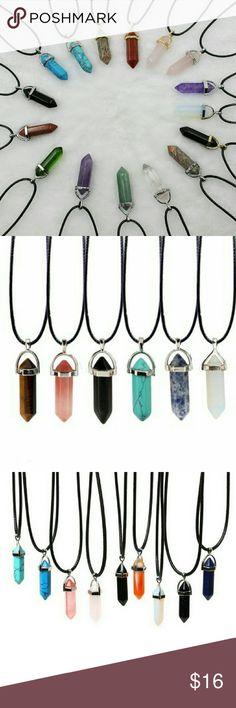 """Healing Chakra Energy Gemstone Pendant Necklace Gorgeous pendant necklace in various colors and healing powers. Black Silk cord is 18"""" with a 2"""" extension and silver hardware. Select a color stone! Ask about bundle deals! :) Jewelry Necklaces"""