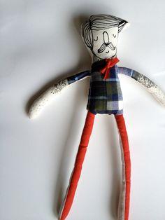 My Little Hipster- Boyfriend- Handmade Art Doll- Painted Plush- Mustache