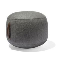 Grey Felt Ottoman with Leather Strap - Pouffe Pouf Footstool Foot Rest Fabric Kmart Decor, Pouf Footstool, Teen Bedroom Designs, Inexpensive Furniture, Industrial House, Baby Boy Rooms, Foot Rest, Home Decor Inspiration, Living Room Furniture