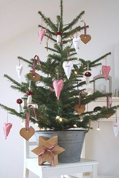 Super sweet Christmas tree in galvanized bucket.
