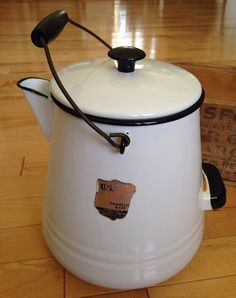 Large White Enamel Coffee Pot  Campfire Coffee Pot  by SimplyAgain