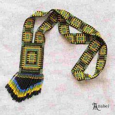 Loom beaded necklace long beadweaving necklace by Bead Loom Patterns, Beading Patterns, Beading Ideas, Seed Bead Earrings, Beaded Earrings, Jewelry Crafts, Jewelry Art, Jewellery, Beaded Necklace Patterns