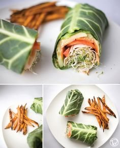 collard green wraps w/ roasted hummus