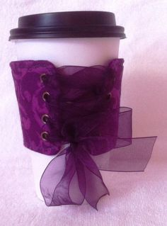 Purple lace up coffee sleeve