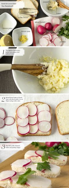 Instead of mayo, I opted for lemon butter which added a nice touch to simple radish tea sandwiches. You just need a little bit of lemon juice and lemon zest to softened butter to give it a citrus kick.