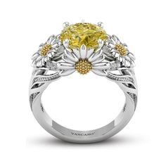 Dazzling Daisy Engagement Ring With Yellow Gemstone For Women