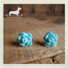 Minty Turquoise Rosebud Post Earrings  Cute by PickleDogDesign, $5.50