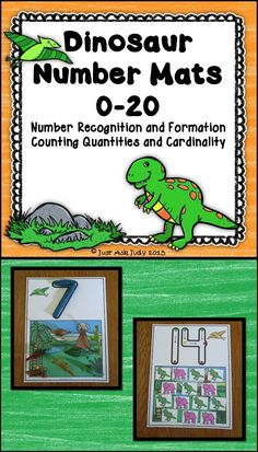 These easy to prepare number mats, 0-20, with a dinosaur background theme, are designed to develop skills in number recognition, number formation, counting quantities, and cardinality.  $ PreK-K