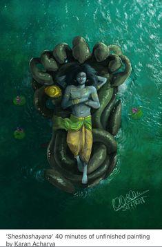 "48211892 desihabits: ""'Sheshashayana' 40 minutes of unfinished painting by Karan Acharya "" (With images) Lord Krishna Images, Radha Krishna Pictures, Lord Shiva Painting, Krishna Painting, Shiva Art, Hindu Art, Ganesha Art, Shiva Shakti, Lord Ganesha"