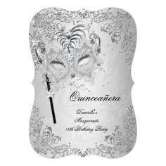 Masquerade Silver Quinceanera Birthday Card Silver Quinceanera Birthday Masquerade Quinceanera 15 Birthday Party Silver White Gray Lace Elegant Classy All Occasion Just change age. Party birthday invites Template Customize with your own details and age. 70th Birthday Invitations, Quince Invitations, Bachelorette Party Invitations, Birthday Cards, Masquerade Invitations, Masquerade Theme, Quinceanera Invitations, Masquerade Ball, Quinceanera Gifts