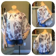 ❗️SALE❗️Gray white sheer open sleeve loose top Beautiful white/grayish purple floral open sleeve top. Loose fit with elastic waist. Such a pretty top! Size 3X Unique Spectrum Tops