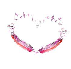 LOVE bird feather ART PRINT 13X19 original watercolor by PortLove, $45.00