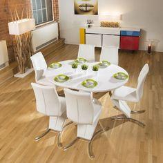 Modern Dining Table White Gloss Round / Oval Extending 1050 1350mm New    Quatropi