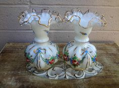 Fenton Charleton Glass Vase Pair Roses and Ribbon Gold Wash