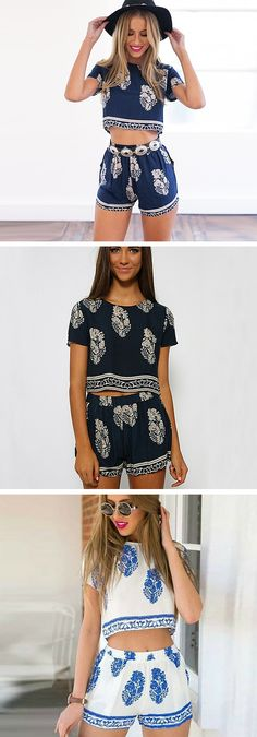 Short sleeve leaf print crop top with matching shorts. This affordable set is such a stylish boho look for summer! It's comfy and casual. Matching separates are a big trend and this suit is an amazing way to incorporate the trend in your look. Get it in navy, black or white.