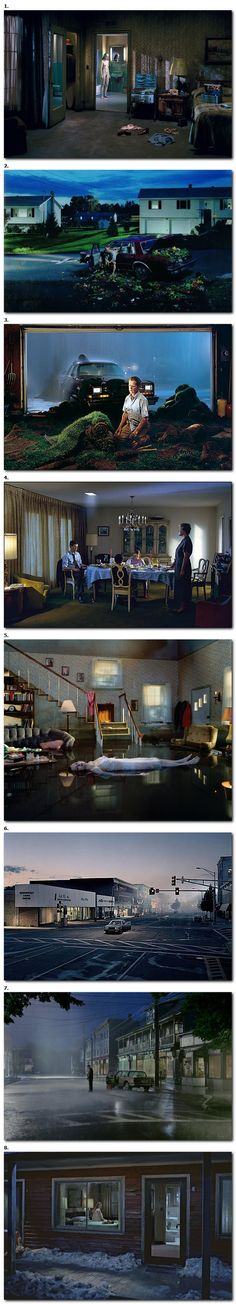 series of Gregory Crewdson where he used dark cool lighting to create eerie and bleak environments for the images.