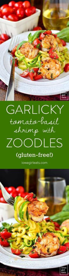 Garlicky Tomato-Basil Shrimp with Zoodles is a fresh and healthy, gluten-free summer dinner recipe. Quick, easy and made in 1 skillet! | iowagirleats.com