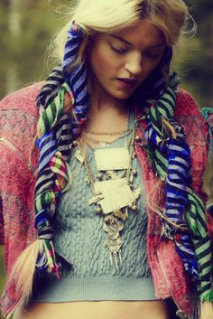 Free People catalog. Amazing hair scarf idea. looks very native american