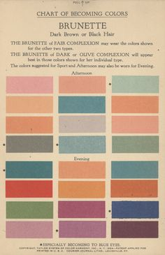 Chart of Becoming Colors, Brunette, Taylor System of Color Harmony, Inc. NY, 1924 The column on the left suited dark complexions, the center column suited light complexions and the column on the right suited olive complexions.