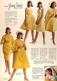 Colleen Corby early 60s yellow dress shift suit jacket skirt shirt coat shirtwaist sweater color photo print ad model