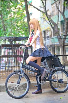 ○•SCHOOL GiRL~•○ school uniform - - seifuku - - sailor uniform - - long hair - - bike - - school bag - - knee socks - - cosplay - - wig - - cute - - kawaii
