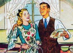 Kitschy Cupcakes saved to Retro Housewife Happy at home. 1950s Housewife, Vintage Housewife, Retro Images, Vintage Images, Retro Home, Retro Art, Vintage Ads, Vintage Apron, Vintage Couples