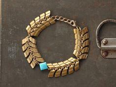 Choctaw - Sleeping Beauty Turquoise Diamond and Brass Bracelet by Prairieoats $42