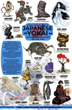Yokai of Japanese Mythology, Volume Two!   #Yokai #JapaneseMythology #Japan #Infographic #Mythology #MrPsMythopedia