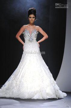Wholesale Ivory V-Neck Bridal Dress 2013 Hottest Sheath Ruffle Rhinestone Beads Sequin Wedding Dresses W7911, Free shipping, $189.28-193.76/Piece   DHgate