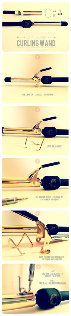 how to turn your curling iron into a curling wand! (taking off the dreaded clamp) i did this to my curling iron, and I can curl my hair without the crimp. :)