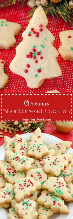 Christmas Shortbread Cookies - adorable, delicious and tasty Cookies with only 4 ingredients! Add this lovely Christmas Shortbread Cookies to your Christmas Tea Cookies, Yummy Cookies, Holiday Cookies, Holiday Baking, Christmas Desserts, Holiday Treats, Christmas Treats, Christmas Baking, Holiday Recipes