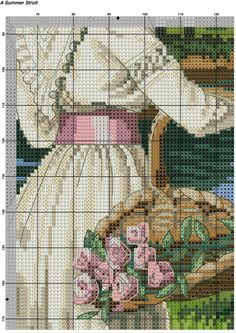 Летняя прогулка Counted Cross Stitch Patterns, Cross Stitch Charts, Cross Stitch Designs, Cross Stitch Embroidery, Pinterest Crafts, Hand Embroidery Tutorial, Cross Stitch Pictures, Cross Stitch Flowers, Plastic Canvas Patterns