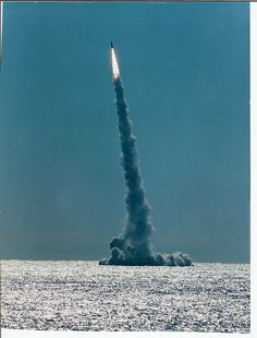 This is a picture of a Trident C4 missile being launched from the USS Stonewall Jackson SSBN 634 in January 1988, off Cape Canaveral.