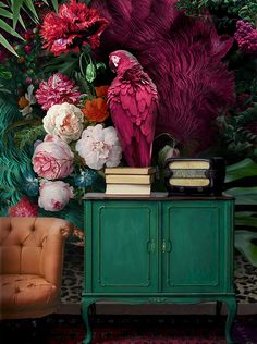 Parrot Wallpaper Floral Wall Mural Colorful Peony Flower Wall Print Tropcai Home Decor Cafe Design Living Room - Papagei Wallpaper Blumen Wand Wandbild bunte Pfingstrose Blume Wand drucken Tropcai Home Decor Cafe - Parrot Wallpaper, Plant Wallpaper, Wallpaper Size, Wall Wallpaper, Wallpaper Designs, Reproductions Murales, Café Design, Salon Design, Design Shop