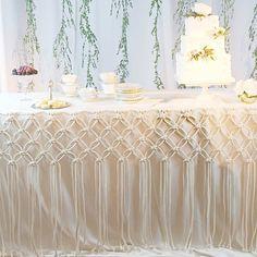 Macrame Table Hanging Macrame Wedding Decor by amyzwikelstudio