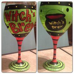 """Halloween wine glass, """"witch's brew"""""""